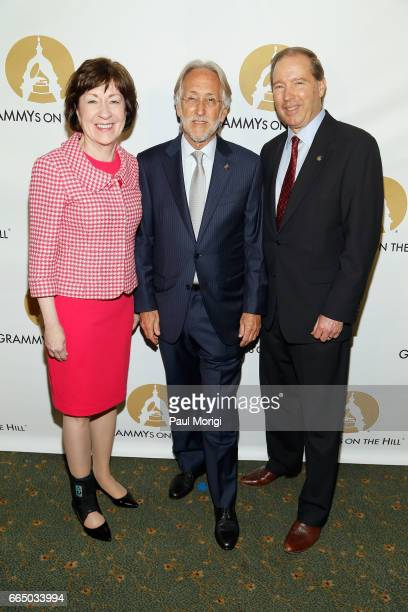 Honoree Senator Susan Collins President of National Academy of Recording Arts and Sciences Neil Portnow and Honoree Senator Tom Udall at The...