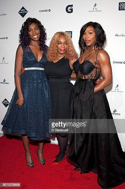 Honoree Serena Williams and sister Venus Williams pose with their mother Oracene Price at the 2015 Sports Illustrated Sportsperson of the Year...