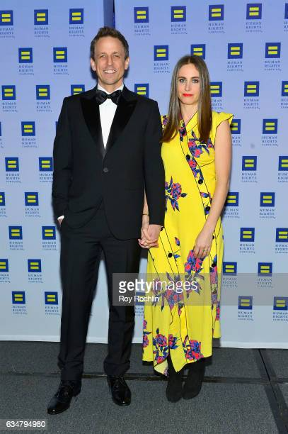 Honoree Seth Meyers and Alexi Ashe attend the 2017 Human Rights Campaign Greater New York Gala at Waldorf Astoria Hotel on February 11 2017 in New...