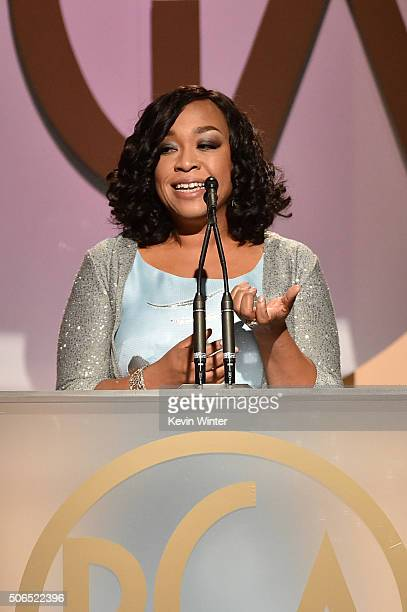 Honoree Shonda Rhimes accepts the Norman Lear Achievement Award onstage at the 27th Annual Producers Guild Of America Awards at the Hyatt Regency...