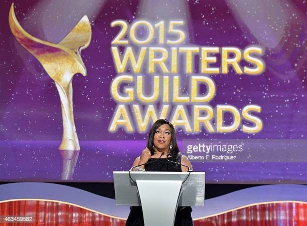 Honoree Shonda Rhimes accepts the WGA Lifetime Achievement Award onstage at the 2015 Writers Guild Awards L.A. Ceremony at the Hyatt Regency Century...