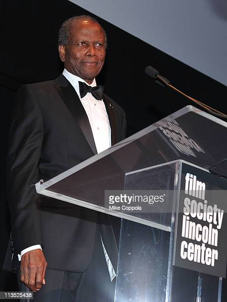 Honoree Sidney Poitier speaks during The Film Society of Lincoln Center's presentation of the 38th Annual Chaplin Award at Alice Tully Hall on May 2...