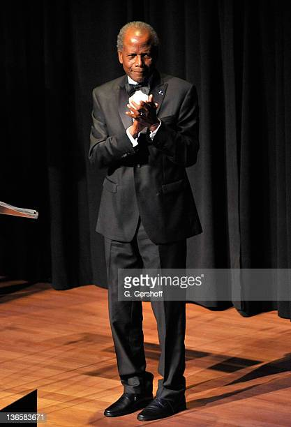 Honoree Sidney Poitier speaks onstage at The Film Society of Lincoln Center's presentation of the 38th Annual Chaplin Award at Alice Tully Hall on...