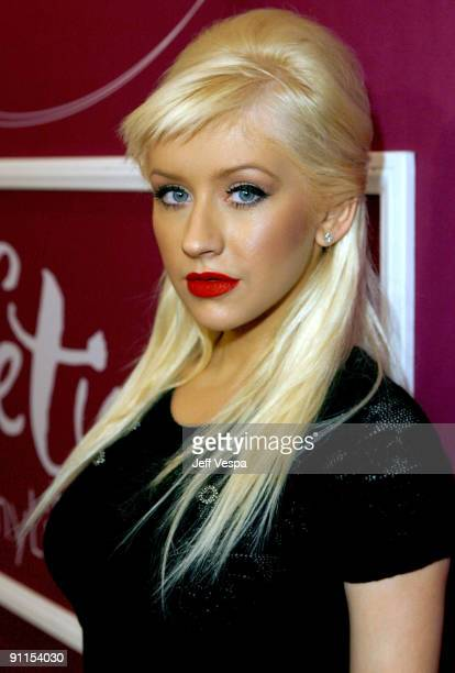 Honoree singer Christina Aguilera arrives at Variety's 1st Annual Power of Women Luncheon at the Beverly Wilshire Hotel on September 24 2009 in...