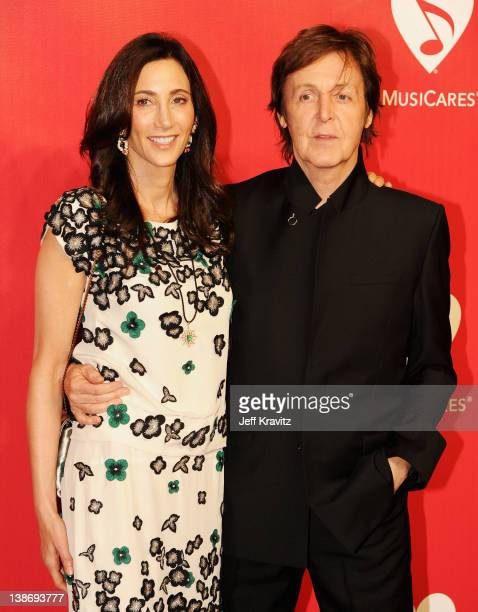 Honoree Sir Paul McCartney and Nancy Shevell arrive at the 22nd Annual MusiCares Benefit Gala honoring Sir Paul McCartney held at Los Angeles...