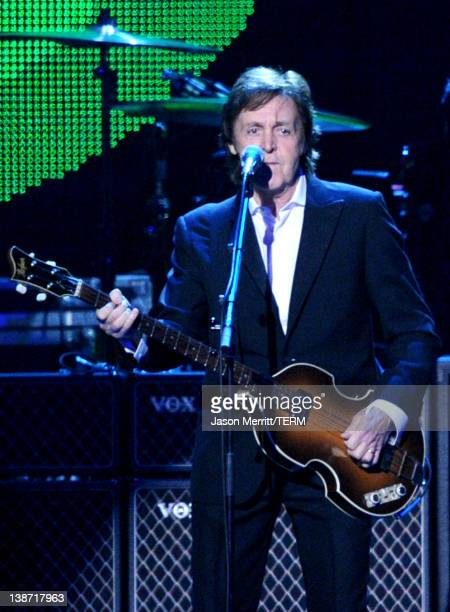 Honoree Sir Paul McCartney performs onstage at the 2012 MusiCares Person of the Year Tribute to Paul McCartney held at the Los Angeles Convention...