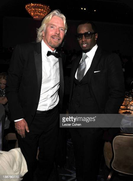 Honoree Sir Richard Branson and Sean 'P Diddy' Combs attends Clive Davis and The Recording Academy's 2012 PreGRAMMY Gala and Salute to Industry Icons...