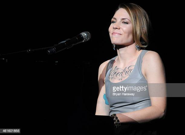 Honoree Skylar Grey performs onstage at the Variety Breakthrough of the Year Awards during the 2014 International CES at The Las Vegas Hotel Casino...
