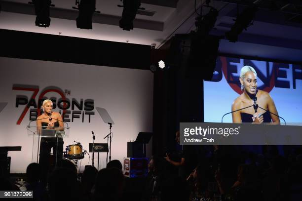 Honoree Solange Knowles speaks onstage during the 70th Annual Parsons Benefit on May 21 2018 in New York City