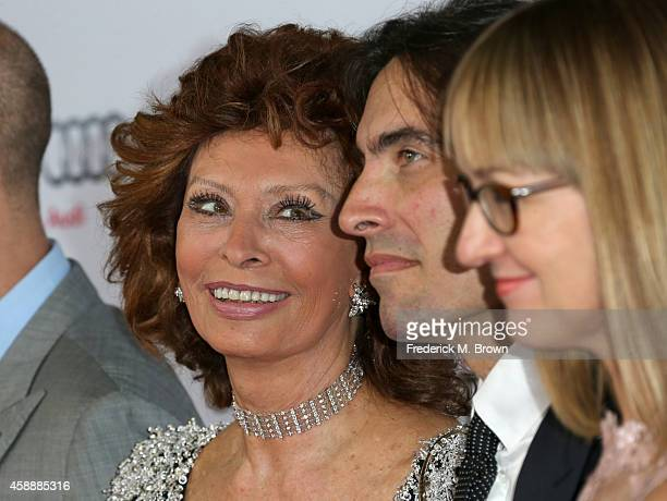 Honoree Sophia Loren conductor Carlo Ponti and violinist Andrea Meszaros Ponti attend the special tribute to Sophia Loren during the AFI FEST 2014...