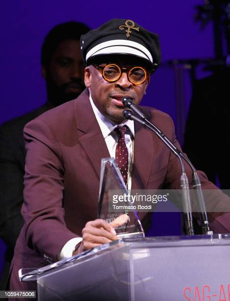 Honoree Spike Lee accepts the Patron of the Artists Award onstage at the SAGAFTRA Foundation's 3rd Annual Patron of the Artists Awards at the Wallis...