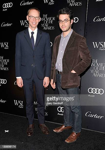 Honoree Steve Ells and novelist Jonathan Safran Foer attend the 2011 WSJ Magazine Innovator of the Year Awards at the Museum of Modern Art on October...