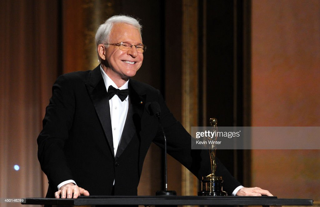 Honoree Steve Martin accepts honorary award onstage during the Academy of Motion Picture Arts and Sciences' Governors Awards at The Ray Dolby Ballroom at Hollywood & Highland Center on November 16, 2013 in Hollywood, California.