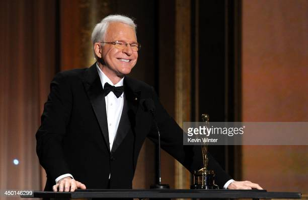 Honoree Steve Martin accepts honorary award onstage during the Academy of Motion Picture Arts and Sciences' Governors Awards at The Ray Dolby...
