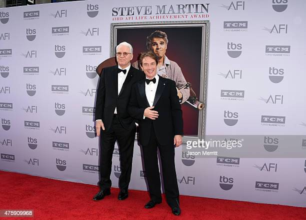 Honoree Steve Martin and actor Martin Short attend the 2015 AFI Life Achievement Award Gala Tribute Honoring Steve Martin at the Dolby Theatre on...