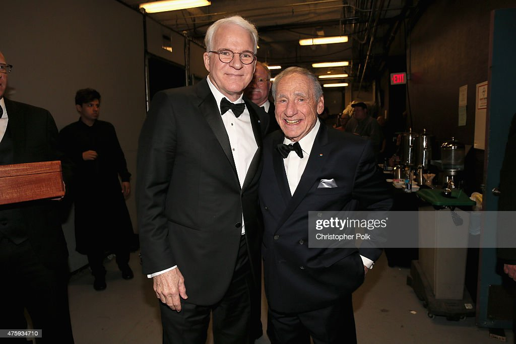 Honoree Steve Martin (L) and entertainer Mel Brooks pose backstage during the 2015 AFI Life Achievement Award Gala Tribute Honoring Steve Martin at the Dolby Theatre on June 4, 2015 in Hollywood, California. 25292_007