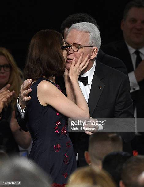 Honoree Steve Martin kisses wife Anne Stringfield during the 2015 AFI Life Achievement Award Gala Tribute Honoring Steve Martin at the Dolby Theatre...