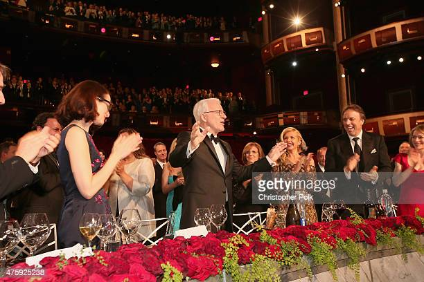 Honoree Steve Martin speaks onstage while guests such as writer Anne Stringfield actress Diane Keaton actress Susan Yeagley and actor/comedian Kevin...