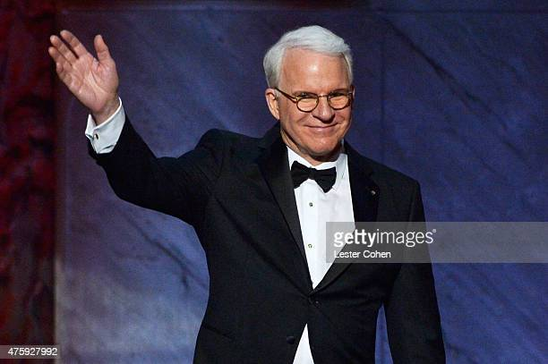 Honoree Steve Martin waves to guests during the 2015 AFI Life Achievement Award Gala Tribute Honoring Steve Martin at the Dolby Theatre on June 4...
