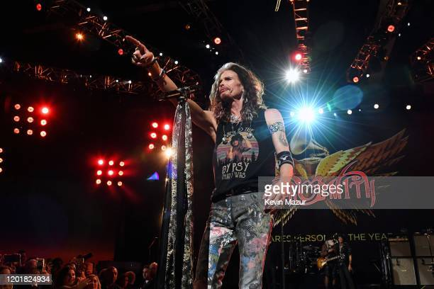 Honoree Steven Tyler of music group Aerosmith performs onstage during MusiCares Person of the Year honoring Aerosmith at West Hall at Los Angeles...