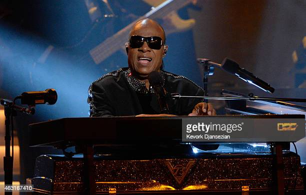 Honoree Stevie Wonder performs onstage during Stevie Wonder Songs In The Key Of Life An AllStar GRAMMY Salute at Nokia Theatre LA Live on February 10...