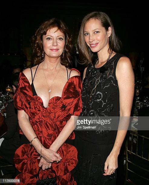 Honoree Susan Sarandon and Christy Turlington during 2006 Action Against Hunger Beneifit at Capitale in New York City New York United States