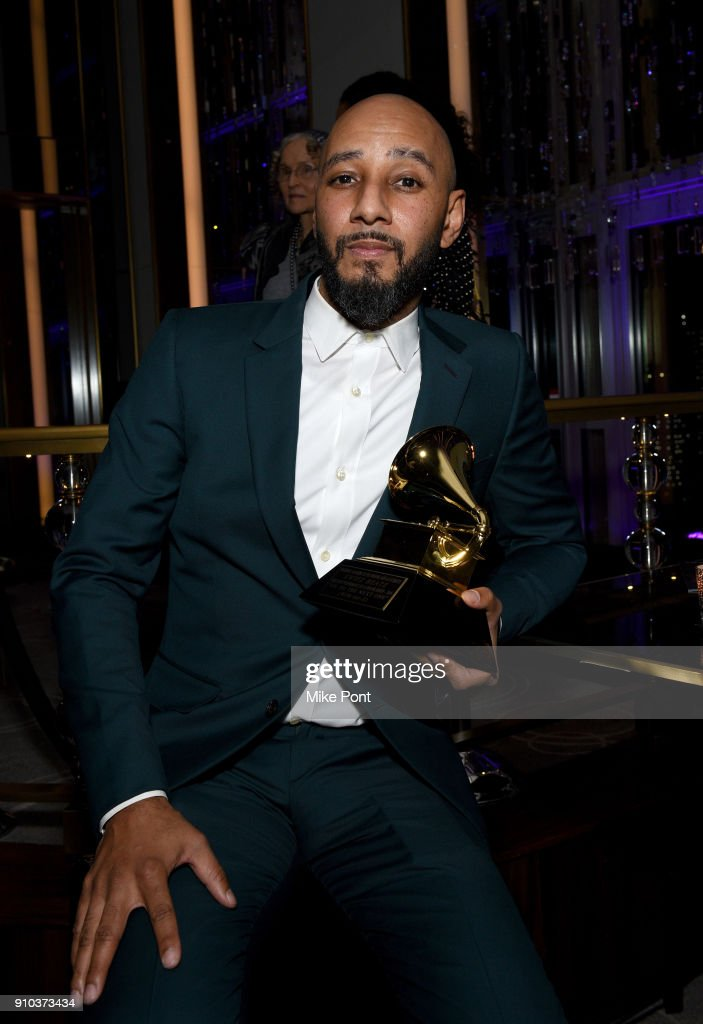 Honoree Swizz Beatz poses with award at the Producers and Engineers Wing 11th Annual GRAMMY Week Event Honoring Swizz Beatz And Alicia Keys at The Rainbow Room on January 25, 2018 in New York City.