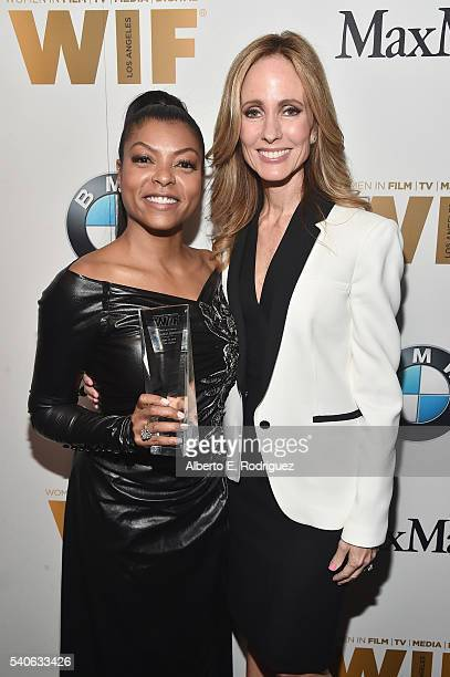 Honoree Taraji P Henson and cochair CEO Fox Television Group Dana Walden pose with The Lucy Award for Excellence in Television during the Women In...