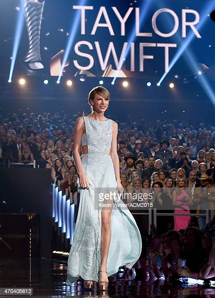 Honoree Taylor Swift accepts the 50th Anniversary Milestone Award onstage during the 50th Academy of Country Music Awards at ATT Stadium on April 19...