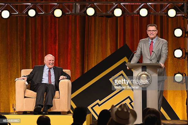 Honoree Terry Bradshaw and NFL analyst Howie Long onstage at the Friars Club Roast of Terry Bradshaw during the ESPN Super Bowl Roast at the Arizona...