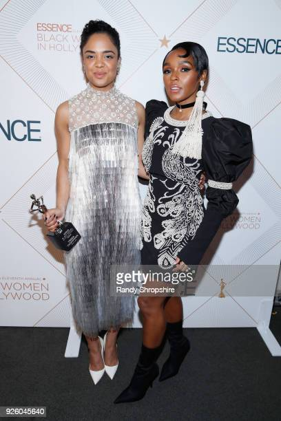 Honoree Tessa Thompson and Presenter Janelle Monae pose with award at the 2018 Essence Black Women In Hollywood Oscars Luncheon at Regent Beverly...
