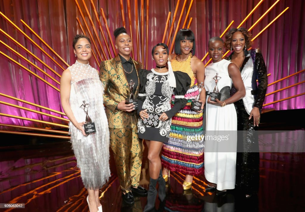 Honoree Tessa Thompson, Honoree Lena Waithe, Janelle Monae, Tiffany Haddish, Honoree Danai Gurira, and Yvonne Orji onstage during the 2018 Essence Black Women In Hollywood Oscars Luncheon at Regent Beverly Wilshire Hotel on March 1, 2018 in Beverly Hills, California.
