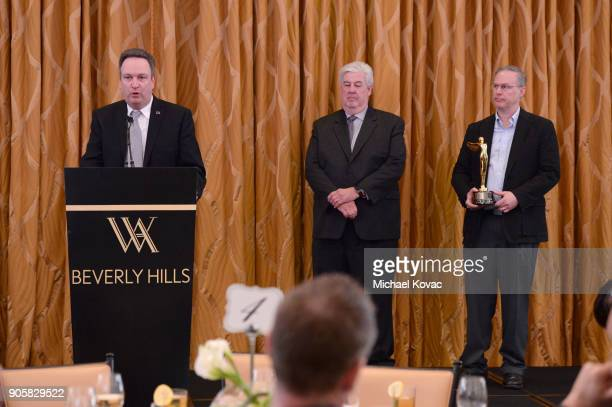 Honoree Thomas Graham Tech Awards Committee Chairman Peter Lude and honoree Bill Villarreal onstage at the Lumiere Technology Award onstage at the...