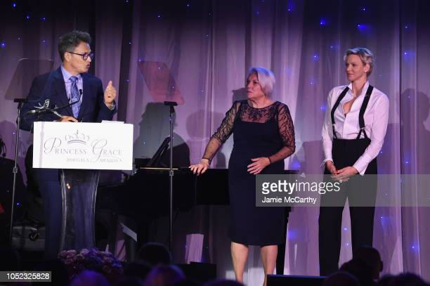 Honoree Tim Daly Tyne Daly and honoree Tim Daly HSH Princess Charlene of Monaco appear on stage during 2018 Princess Grace Awards Gala at Cipriani 25...