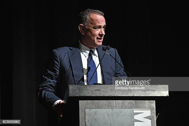 Honoree Tom Hanks speaks onstage at the MoMA Film Benefit presented by CHANEL A Tribute To Tom Hanks at MOMA on November 15 2016 in New York City