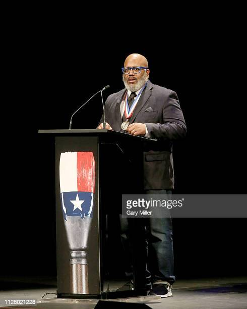 Honoree Trenton Doyle Hancock speaks on stage during the Texas Medal Of Arts Awards at the Long Center for the Performing Arts on February 27 2019 in...