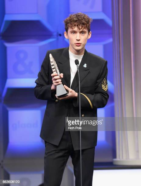 Honoree Troye Sivan accepts the Stephen F Kolzak Award onstage at the 28th Annual GLAAD Media Awards sponsored by LGBTQ ally Ketel One Vodka in...