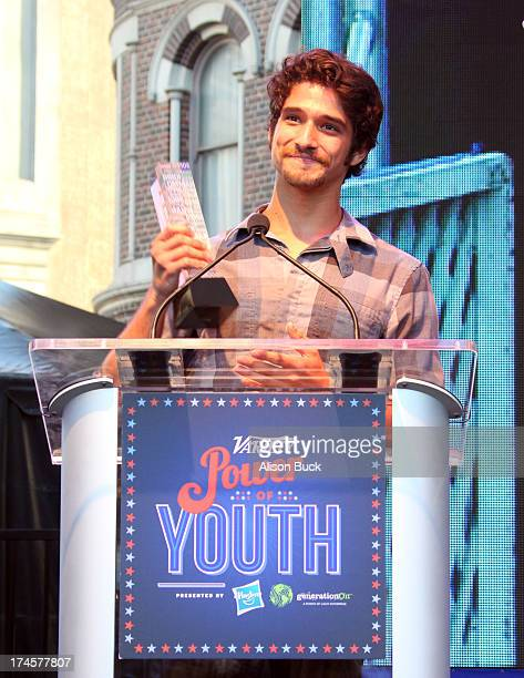 Honoree Tyler Posey accepts award onstage during Variety's Power of Youth presented by Hasbro Inc and generationOn at Universal Studios Backlot on...