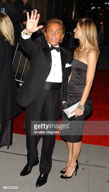 Honoree Valentino gestures as he and date Princess Rosario of Bulgaria arrive for the Fashion Group International's 22nd Annual 'Night Of Stars' at...