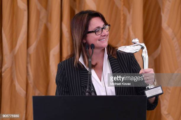 Honoree Victoria Alonso accepts the Distinguished Leadership Award onstage at the Advanced Imaging Society 2018 Lumiere Technology Awards Featuring...