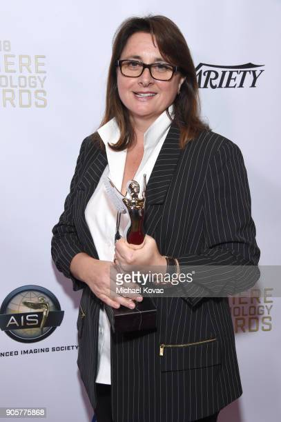 Honoree Victoria Alonso Poses with the Distinguished Leadership Award at the Advanced Imaging Society 2018 Lumiere Technology Awards Featuring The...