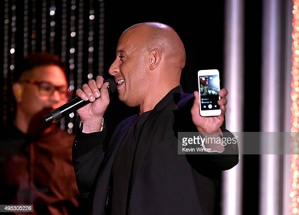 Honoree Vin Diesel corecipient of the Hollywood Blockbuster Award for 'Furious 7' speaks onstage during the 19th Annual Hollywood Film Awards at The...