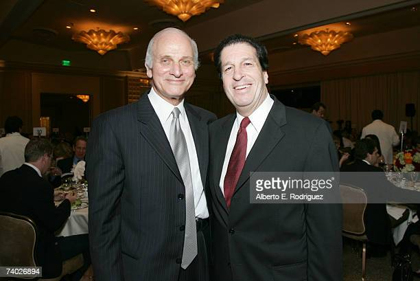 Honoree Warner Bros CFO Ed Romano and Warner Bros Television's Peter Roth attend the Literacy Networks' LIMA awards dinner on April 29 2007 in Los...
