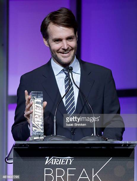 Honoree Will Forte accepts the Breakthrough Award for Actor onstage at the Variety Breakthrough of the Year Awards during the 2014 International CES...