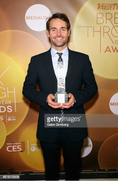 Honoree Will Forte poses with the Breakthrough Award for Actor backstage at the Variety Breakthrough of the Year Awards during the 2014 International...