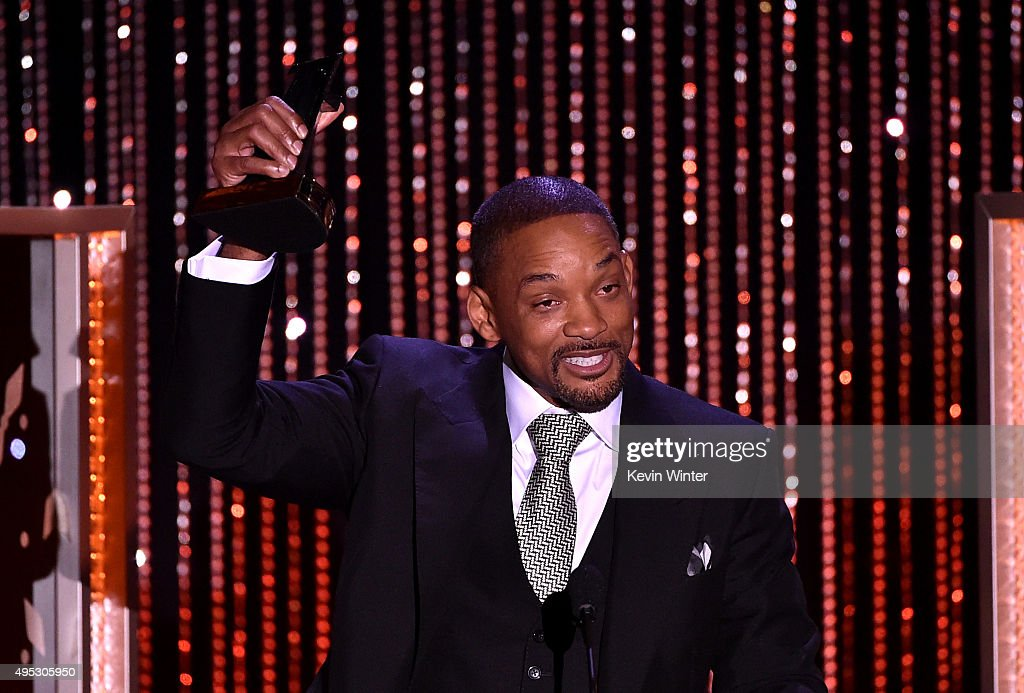 """Honoree Will Smith accepts the Hollywood Actor Award for """"Concussion"""" onstage during the 19th Annual Hollywood Film Awards at The Beverly Hilton Hotel on November 1, 2015 in Beverly Hills, California."""