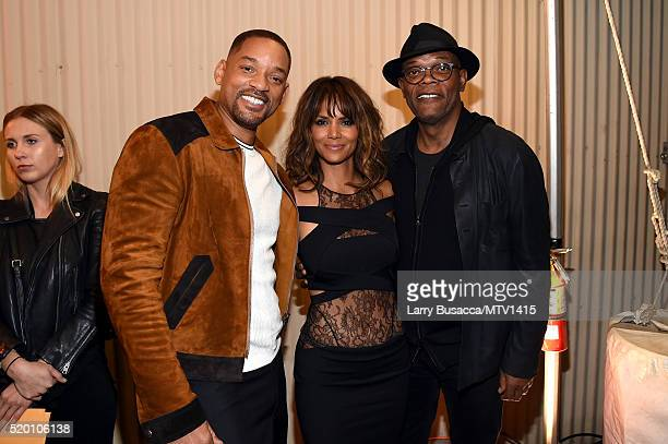 Honoree Will Smith actors Halle Berry and Samuel L Jackson attend the 2016 MTV Movie Awards at Warner Bros Studios on April 9 2016 in Burbank...