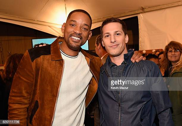 Honoree Will Smith and actor Andy Samberg attend the 2016 MTV Movie Awards at Warner Bros Studios on April 9 2016 in Burbank California MTV Movie...
