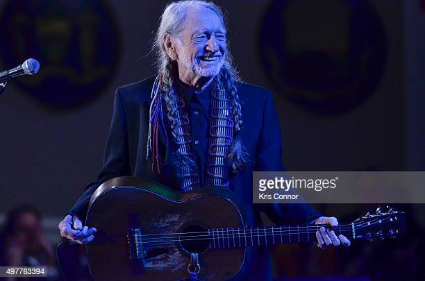 Honoree Willie Nelson performs during the 2015 Gershwin Prize Honoree's Tribute Concert Honoring Willie Nelson at DAR Constitution Hall in Washington...