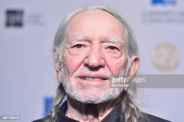Honoree Willie Nelson poses on the red carpet during the 2015 Gershwin Prize Honoree's Tribute Concert Honoring Willie Nelson at DAR Constitution...